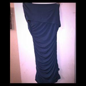Dark seagreen; side ruching dress; one strap